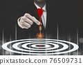 Targeting the business concept, Businessman throwing red arrow dart to virtual target dart board,Executive marketing, investment goal and target for business investment concept. 76509731