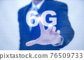 Business touch technology 6G of mobile telecommunication network in Europe for high speed wireless data connection to internet from smartphones, concept future technology 6G network wireless systems 76509733