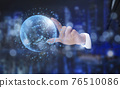Businessman touch the earth icon in line graph Screen Icon of media screen,Technology Process System Business, artificial intelligence technology, innovation and futuristic. concept 76510086