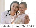 Portrait of female nurse with small little girl patient 76512030