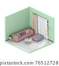 Minimalist interior living room, 3D render 76512728