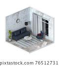 Minimalist interior living room, 3D render 76512731