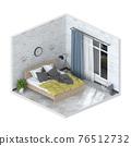 Minimalist interior modern bedroom. 3D render 76512732