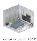 Minimalist interior modern bedroom. 3D render 76512734