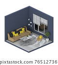 Minimalist interior living room, 3D render 76512736