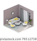 Minimalist interior living room, 3D render 76512738