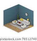 Minimalist interior living room, 3D render 76512740