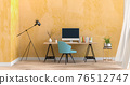 3D render of interior living room workspace with desk and desktop computer 76512747
