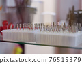 counter with goods for nail service, nozzles for hardware manicure 76515379