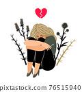 Crying girl with sad feeling 76515940