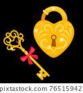 Golden key and padlock 76515942