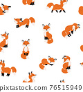 Cute foxes seamless pattern 76515949