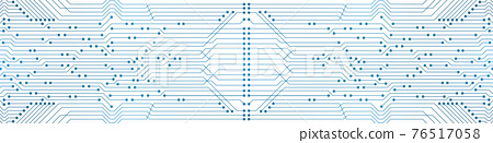 Abstract Technology Background, blue circuit board pattern with electric light, microchip, power line 76517058