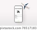 Toy plane and smartphone showing Vaccine Passport digital app 76517183
