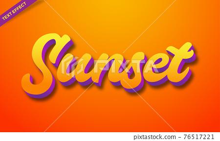 orange color sunset text effect 3d 76517221