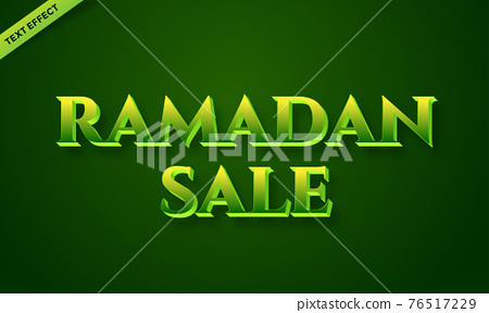 Ramadan green text effect design 76517229