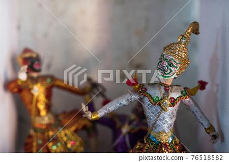 Puppet Khon in hanuman mask and thai costume 76518582
