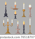 Candlesticks, candle holders and candelabra lights vector 76518707