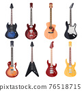 Guitars, different styles, electric and rock bass 76518715