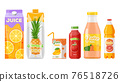 Juice packages, carton boxes, fruit drinks bottles 76518726