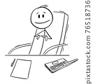 Boss or Manager Sitting on Chair Behind His Office Desk,Vector Cartoon Stick Figure Illustration 76518736