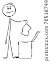 Smiling Man or Businessman Throwing Piece of Paper in Waste Bin, Vector Cartoon Stick Figure Illustration 76518749
