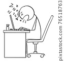 Office Worker or Businessman Sleeping While Working on Computer, Vector Cartoon Stick Figure Illustration 76518763
