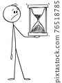 Worried Man or Businessman Holding Hourglass or Sandglass, Vector Cartoon Stick Figure Illustration 76518785