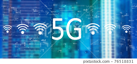 5G network with downtown skyline 76518831