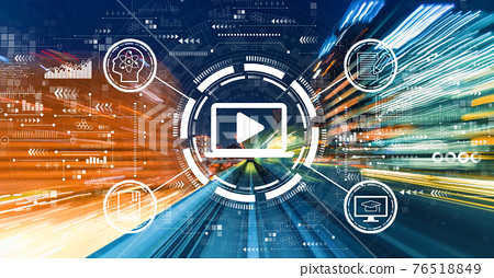 Webinar concept with high speed motion blur 76518849
