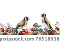 Autumn floral seamless border. Two goldfinch birds on endless flower decoration. Harvest seasonal seamless border. Wild forest finch birds. Rustic decor with red berries, acorn and blackberries 76518938