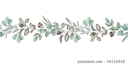 Eucalyptus seamless border. Watercolor illustration. Natural organic herb in elegant ornament. Hand drawn eucalyptus medical organic plant. Elegant seamless border. Isolated on white background 76518939