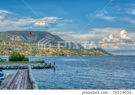 Okanagan lake overview on a bright summer day 76519036