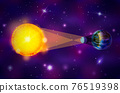 Realistic diagram of Solar eclipse infographic on deep space background 76519398