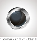 Round shaped bright glossy silver badge icon with black inner on white 76519418
