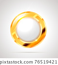 Round shaped bright glossy golden badge icon with white inner on white 76519421