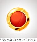 Round shaped bright glossy golden badge icon with red inner on white 76519432