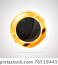 Round shaped bright glossy golden badge icon with black inner on white 76519443