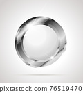 Round shaped bright glossy silver badge icon with white inner on white 76519470