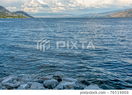 Okanagan lake overview on a bright summer day 76519808