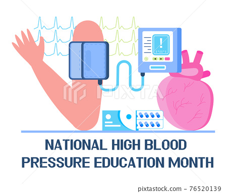 National High Blood pressure education month concept vector. HBP event 76520139