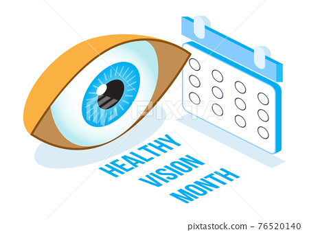 Healthy vision month concept isometric vector. Medical ophthalmologist eyesight check up illustration. Eye illustration for health care web banner 76520140