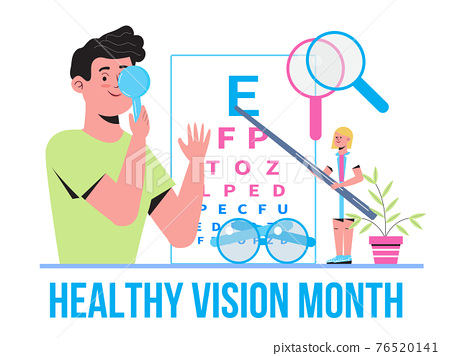 Healthy vision month concept vector. Medical ophthalmologist eyesight check up concept vector. Eye doctor illustration for health care web banner 76520141