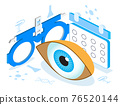 Medical ophthalmologist eyesight check up concept isometric vector. Eye 3d illustration for health care web banner, post. Eyeglasses isometric icon 76520144