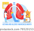 Asthma and allergy awareness month concept vector. Medical event is observed in May. Asthmatic syndrome for health care banner, flyer. Patient, doctor, disease icons 76520153