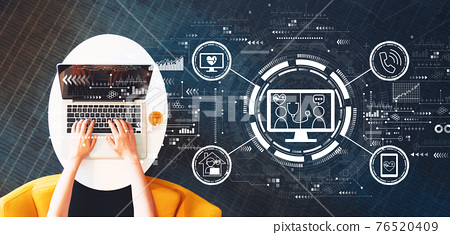 Telehealth theme with person using a laptop 76520409