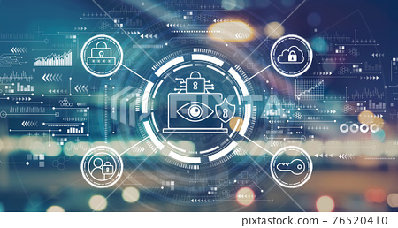 Data Privacy concept with blurred city lights 76520410