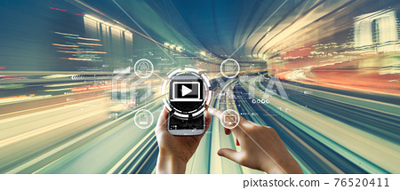 Webinar concept with high speed motion blur 76520411