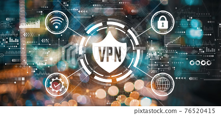 VPN concept with blurred city lights 76520415