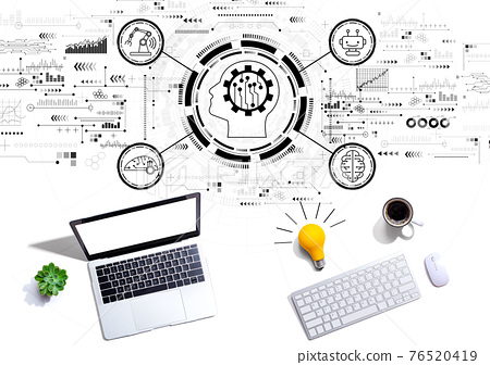 Future technology concept with computers with a light bulb 76520419